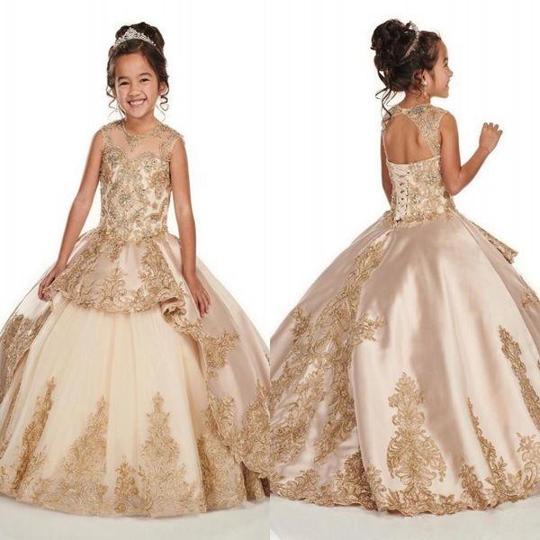 Or Applique dentelle champagne filles Pageant Robes 2020 mancherons Jewel perles en cristal première communion Fleur De Filles BC2500