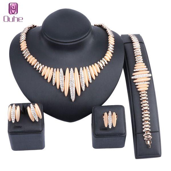 Son En İyi Kalite Moda İtalyan Takı Dubai Altın Renk Takı setleri Afrika Boncuk Kristal Kolye Mücevherat