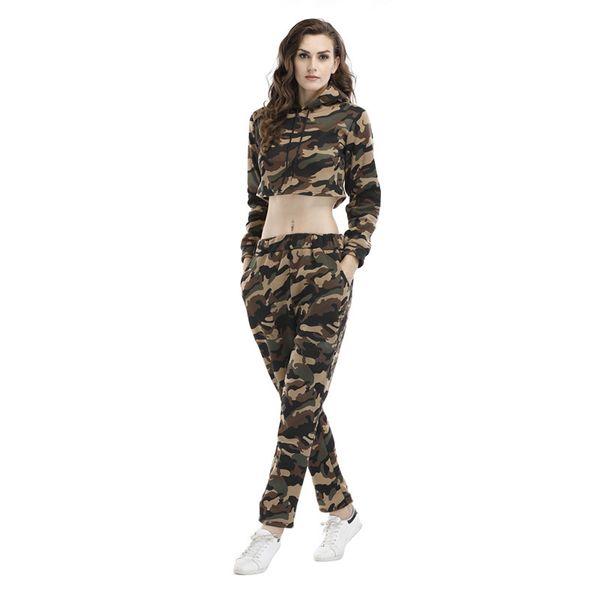 Signora Women Girl camuffamento tuta del vestito di sudore breve Tuta Midriff Costume Pullover con cappuccio Autunno Inverno Style Sport B102240Z casual