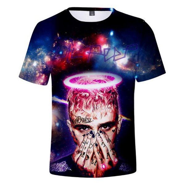 dda0b15f0 Hip Hop Rapper lil peep Oversized T Shirt Graphic Tees Rap Hiphop lilpeep  3D Print Short