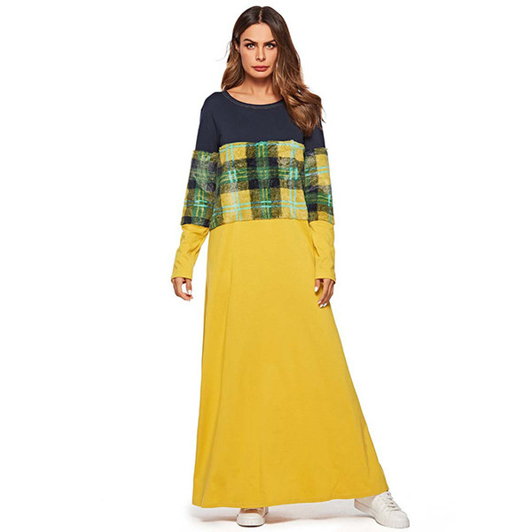 Fashion Women Patchwork T Shirt Long Dress Spring Autumn 2019 Maxi Dresses Long sleeve Muslim Casual Clothing Female