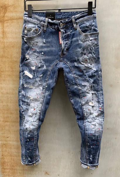 Jeans européens debout, jeans pour hommes, une paire de jeans skinny et crânes brodés noirs # 0117