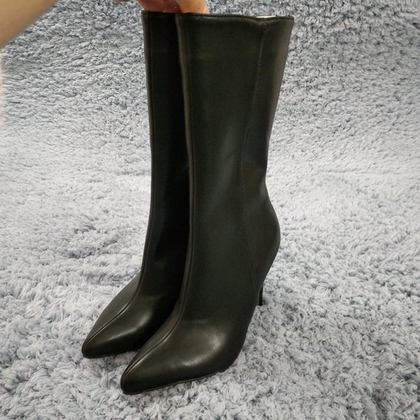 Women Stiletto High Heel Mid-Calf Boots Pointed Toe Black PU Fashion Evening Party Ball Office Lady Half Boots 70887BT-e