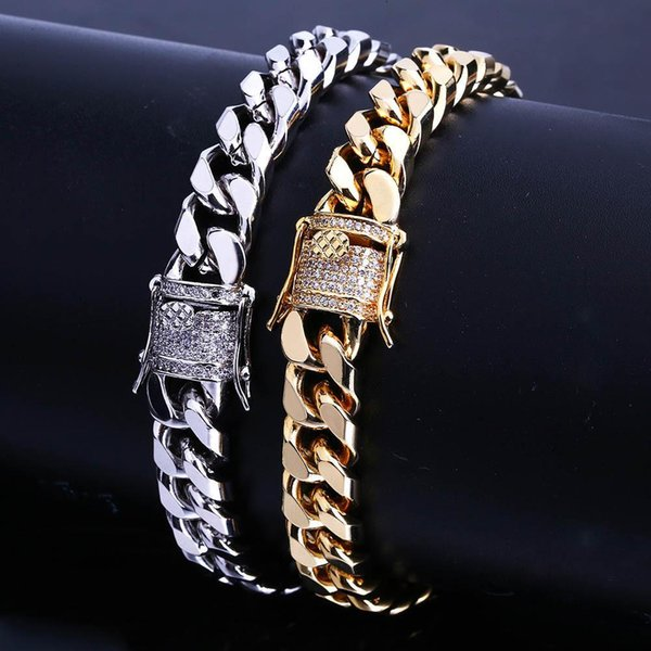 2019 Pay4U Free Shipping hot European and American new hiphop micro - set zircon gold chain bracelet men's jewelry clasps the Miami chain