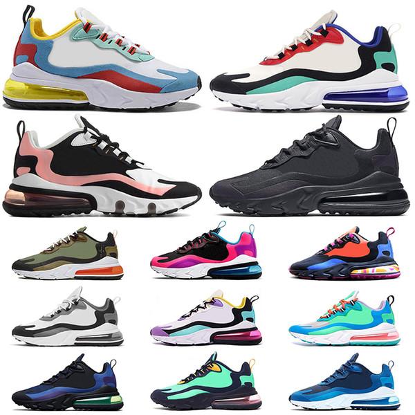 Nike air Max 270 React nike react 270S ÜST KRKT Istikrar Koşu Ayakkabıları T728N siyah beyaz atletik açık Spor Koşu ayakkabıları eğitmen hız kadınlar sneaker boyutu 8-11