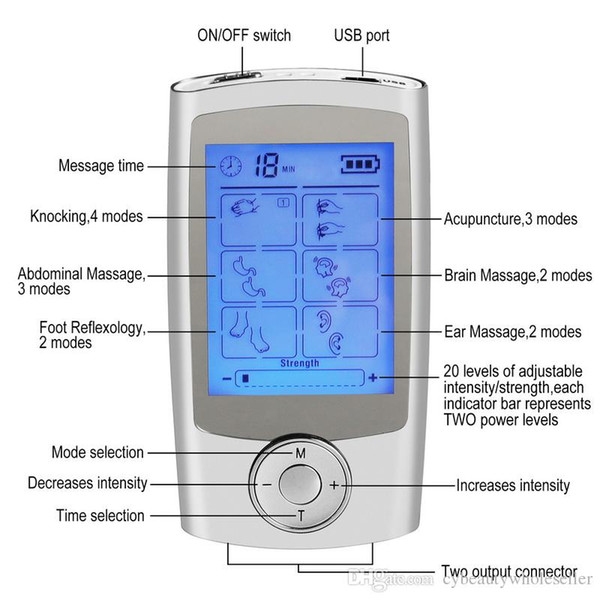 16 modalità Health Care Body Massager Dual Tens Machine Digital Electrical Therapy Agopuntura Dispositivo stimolatore massageador
