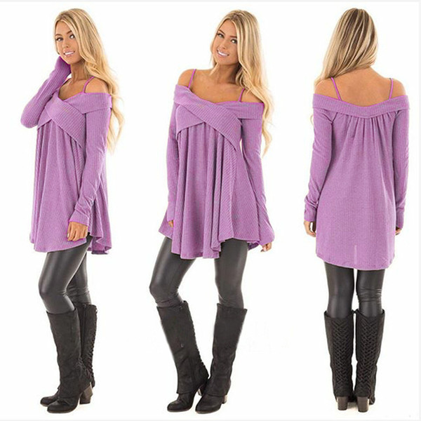 Sexy clothes Women's Sweater designer Casual Oversized Baggy Off-Shoulder Shirts Suspenders Solid Color Stitching Sweaters Pullover Tops 300