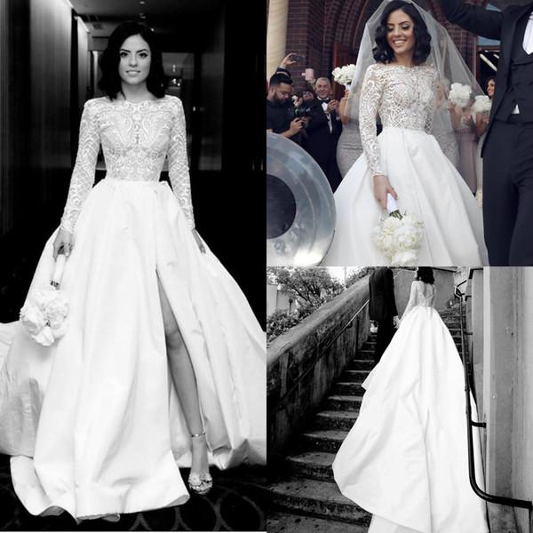 White Country Wedding Dresses Jewel Neck Lace Appliqued Sweep Train Long Sleeve Wedding Dress Satin Split Custom Made Beach Robes De Mariée