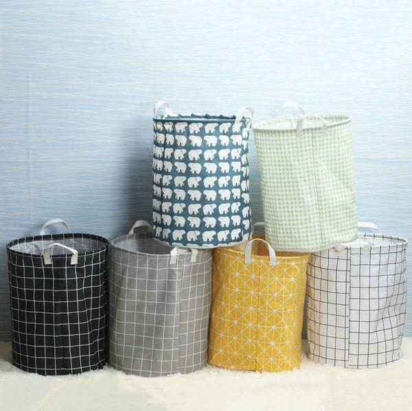 21 estilos 35 * 45 cm cesta de almacenamiento organizador de la habitación de los niños bolsa plegable con asa soporte de ropa de almacenamiento de ropa cesta de juguete