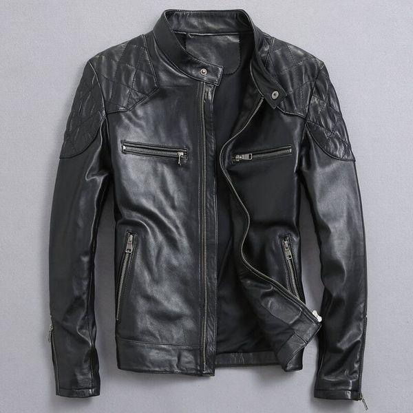 David Beckham Gerçek Deri Ceket Sıcak Satış Güz Kış Moda erkek Siyah Renk Hakiki Deri Ceket erkek Giyim En Kaliteli