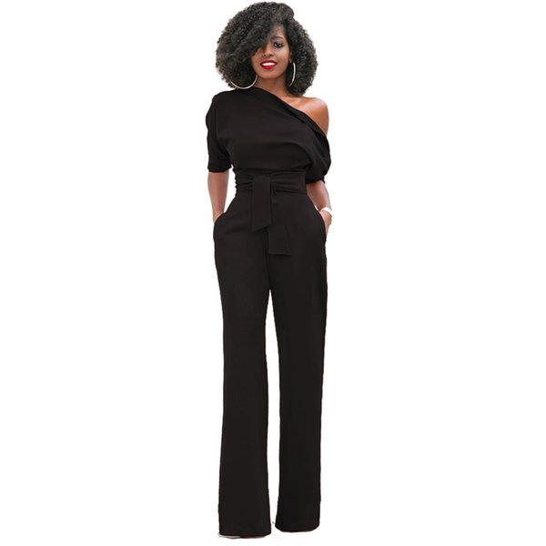 Jumpsuits For Women 2018 Solid Casual Fashion Elegant Rompers Womens Jumpsuit Sexybodysuit Street Wear Spring Hot Sale Black Y19051501
