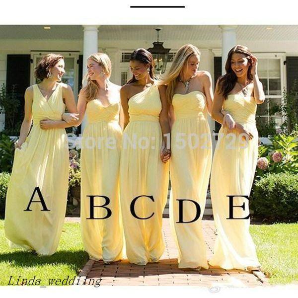 Barato Mistos Estilos Longo Dama de Honra Vestido Amarelo Chiffon Até O Chão Formal Maid of Honor Vestido Plus Size Custom Made