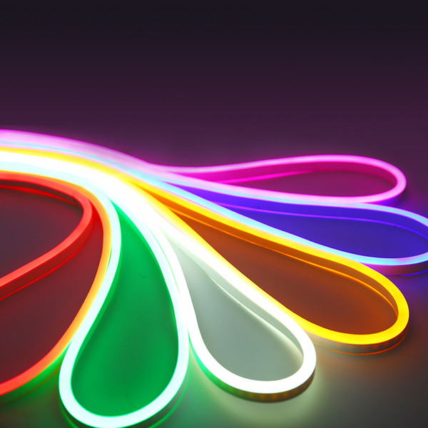best selling 12V Led Neon Strip Light Sign Rope Flexible Tape Soft Bar Silicon Tube Waterproof 2835 SMD White Red Green Yellow Pink Ice Blue