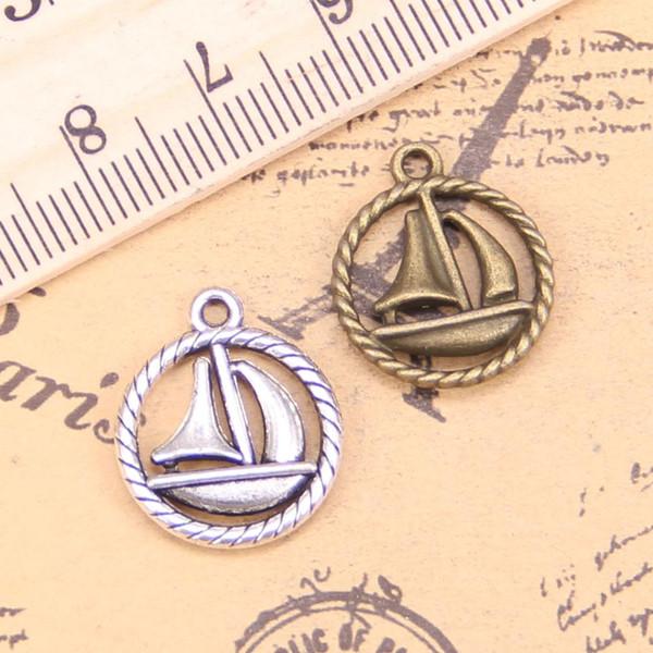 bilezik, kolye için DIY 16pcs Charms yelkenli gemi 16mm Antik Kolye Vintage Tibet Gümüş Takı,