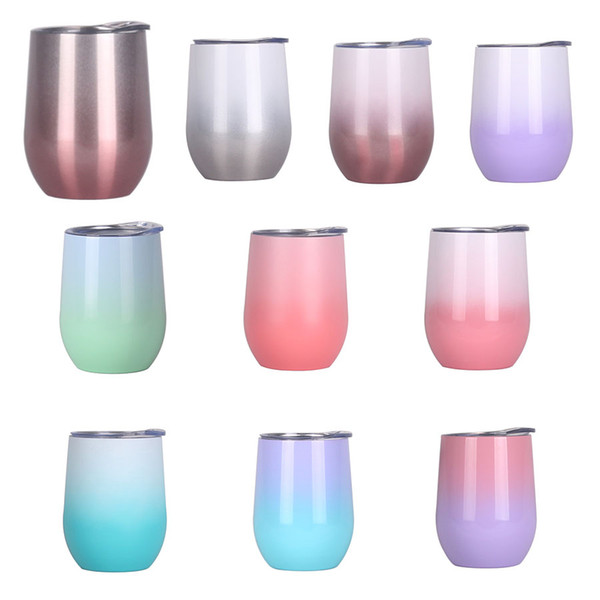 top popular 12oz Swig Children Egg Cup Wine Glass Stemless Vacuum Coffee Mugs Stainless Steel Insulation Tumbler Water Bottle Travel Mug With Lid M751 2021