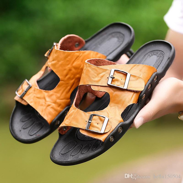 Echtes Leder Hausschuhe Herren Flache Sandalen Frauen Schuhe Doppel Schnalle Berühmte Marke Arizona Sommer Strand Flip Flops kostenloser versand