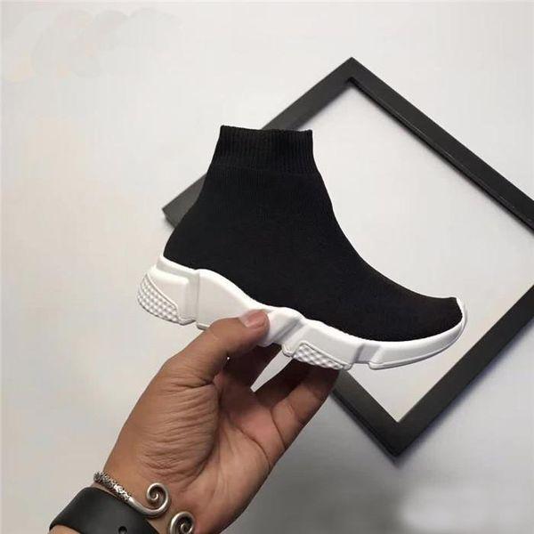 Balenciaga Mode Enfants Chaussettes Bottes Enfants Chaussures De Sport Décontractés Appartements Plat Vitesse Trainer Sneaker Garçon Fille Haut Chaussures De Course Noir Blanc