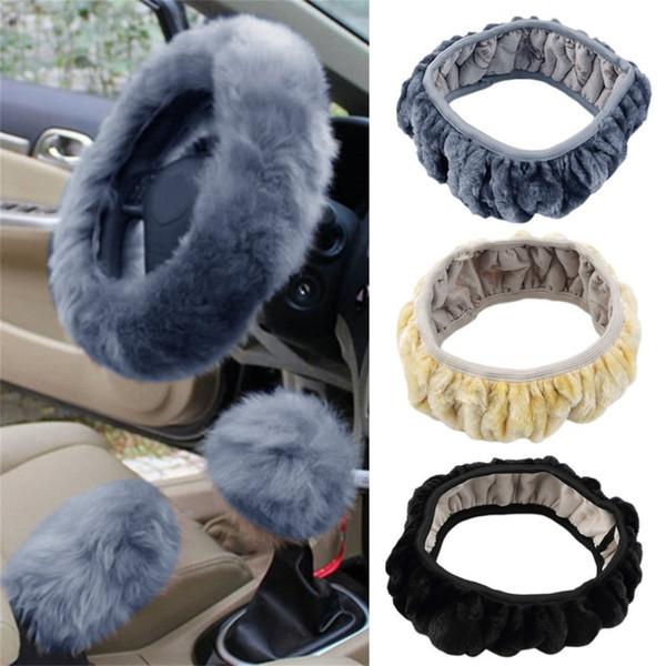 3 pcs / set de lana larga felpa volante del coche caliente del encanto de la cubierta de lana coche freno de mano caliente de accesorios