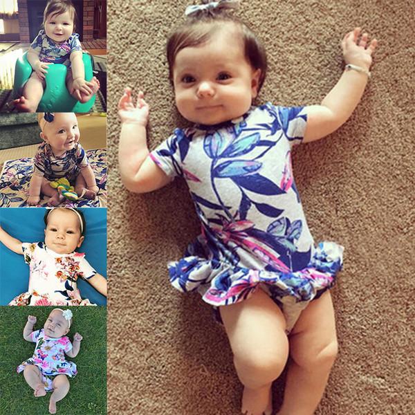 Sevimli bebek romper Çocuk Tasarımcı Giyim Kız moda çiçek fırfır etek jumpsuits tulum tek parça onesies yürümeye başlayan bodysuit tulum