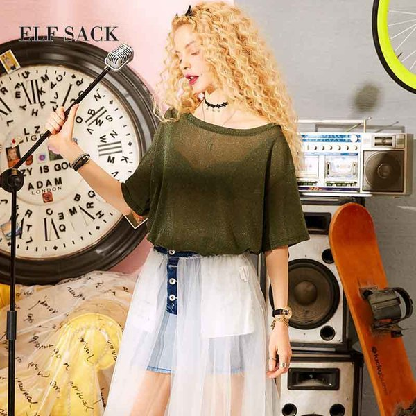 Elf Sack Glitter Sexy Women T-shirt Summer Fashion Casual Army Green Solid Tee Brand Female V-neck Tops Brown Clothing S19715