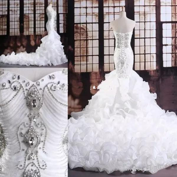 White Mermaid Crystal Wedding Dress Sweetheart Neckline Diamonds Beaded Bodice Corset Back Lace-Up Ruffles Skirt Organza Bridal Gown