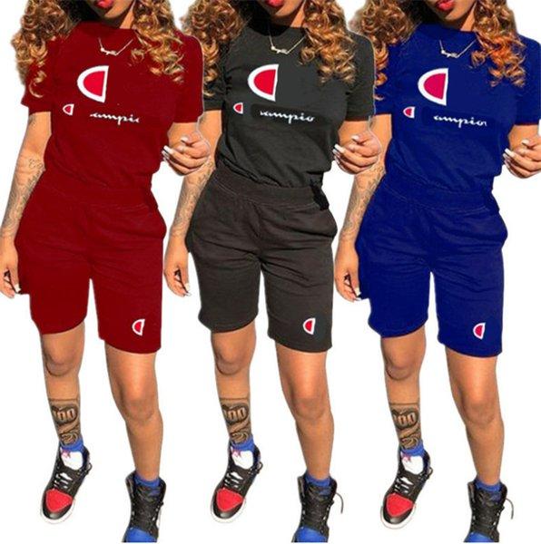 Kadın Şampiyonu Mektup Baskı Yaz Kısa Kollu T Gömlek + Şort Eşofman Rahat Kıyafetler Spor Joggers Spor A3105 Suits