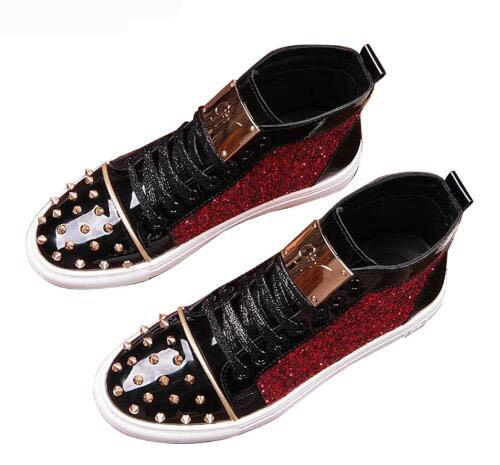 High Quality sequins rivet Sheet metal Casual Platform high top shoes Flats Male Designer prom Dress Loafers Shoes zapatos hombre