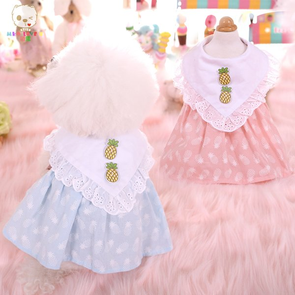 dog apparel pet spring summer dress new pineapple doll skirt pink blue Teddy York Charpy bear pet dog costume