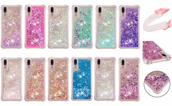 Soft Fashion Love Heart Quicksand Liquid Glitter Silicone Phone Case for Huawei Honor 6C Huawei Enjoy 7s Air Cushion Corner Shockproof 04