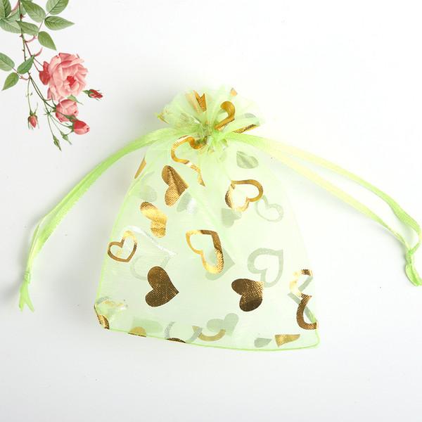 100 Pcs Green Love Heart Organza Jewelry Gift Pouch Bags 20x30cm Drawstring Bag Organza Gift Candy Bags DIY Gift Bags
