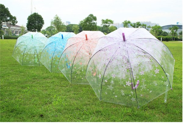 Clear Umbrella Windproof Folding Umbrellas Women Raingear Long Handle Transparent Flowers Sunny Rainy Umbrella Blue Pink Green