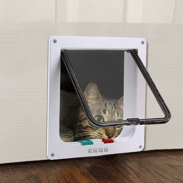 1pc 3-size s m l 4-way system pet cat puppy dog gates pet safety door lockable safe flap door auto close by magnet built in