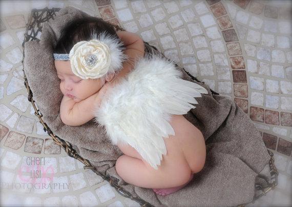 Asa de Anjo do bebê + Headband Da Flor Fotografia Adereços Set recém-nascido Bonito Anjo de Fadas penas Traje Foto headband Frete Grátis