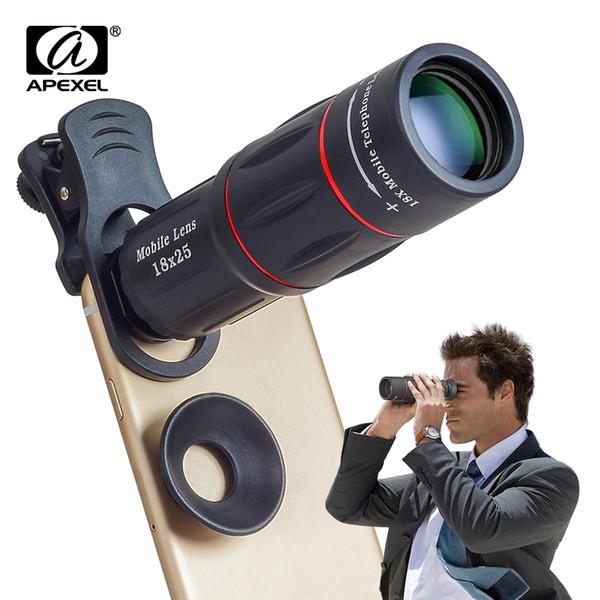 Apexel 18x Telescope Zoom Mobile Phone Lens For Iphone Samsung Smartphones Universal Clip Telefon Camera Lens With Tripod 18xtzj J190704