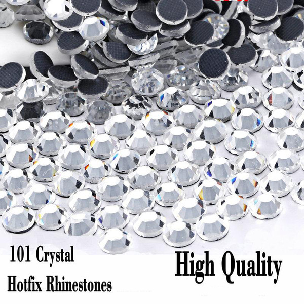 best selling Clear Crystal DMC Hot Fix Rhinestone Flatback Glass Different Sizes Hotfix Rhinestones Iron On For party night Dress
