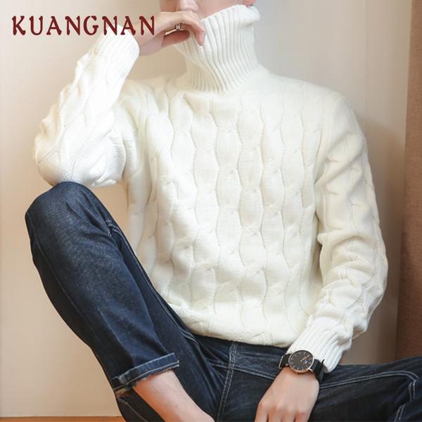 KUANGNAN Knitted Turtleneck Men Sweater Man Solid High Collar Winter Pullover Men Sweater Coat Mens Turtleneck Sweaters 2018 New