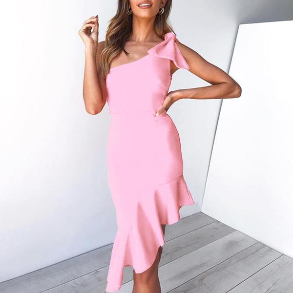 2019 New Summer Women Bandage Dress Vestidos One Shoulder Sleeveless Ruffles Nightclub Dress Celebrity Evening Party Dress SJ5184