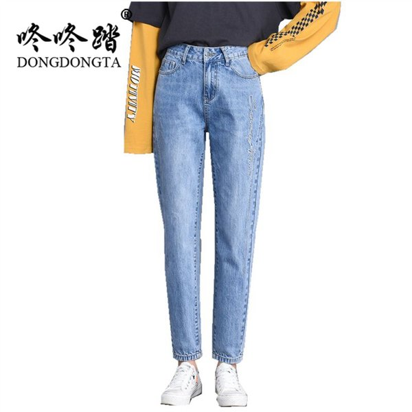 DONGDONGTA 2019 New Summer Women Embroidered Pencil Jeans Ladies Slim Denim Pants New Fashion Young Girls Jeans