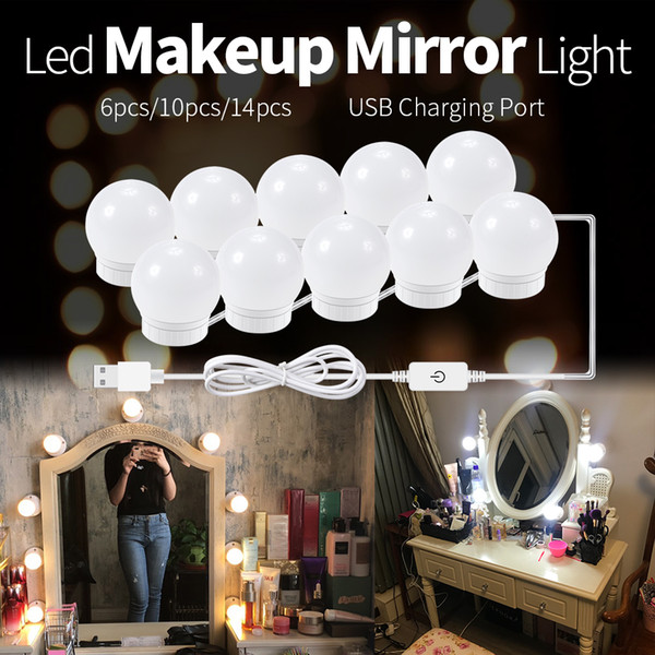 separation shoes 919fc 1be54 LED 12V Makeup Mirror Light Bulb Hollywood Vanity Lights Stepless Dimmable  Wall Lamp 6 10 14Bulbs Kit For Dressing Table Lights String Lamp Outdoor ...