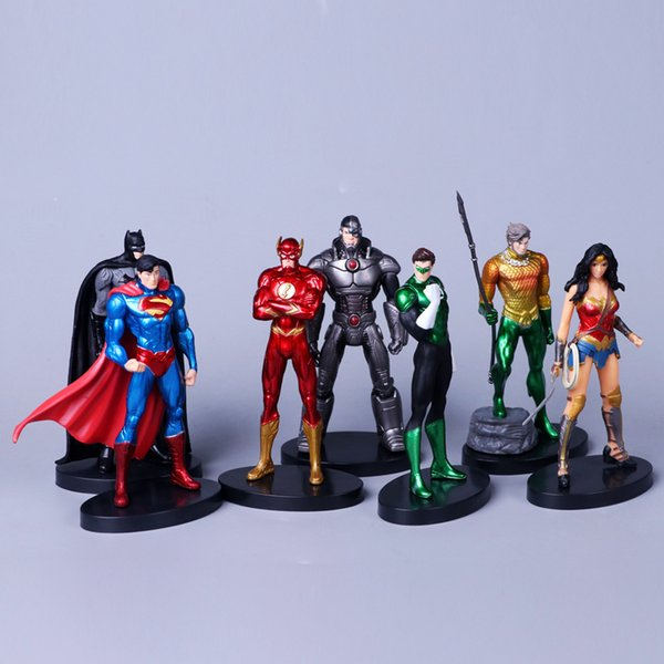 7pcs/set Justice League 14cm Super Hero Superman Batman Flash Neptune Wonder Woman Action Figure Toys Y190604