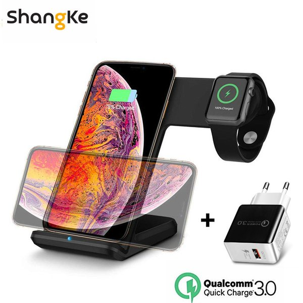 Qi Wireless Charger Phone Watch Fast Charging Mobile Holder For Apple Watch 3 2 1 For Iphone Xs Max Xr X 8 Plus Samsung S9 S8 T190627