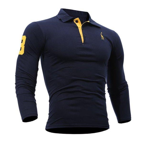 Cw Summer Mens Polo Shirt Long Sleeves Deer Embroidery Printing Men Slim Casual Cozy Tees M-3xl Fashion Top Clothing