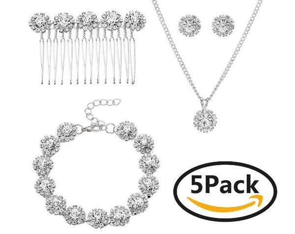3 set di fascia alta nuovo arrivo Cinque set di gioielli da sposa stile europeo e americano gioielli da sposa set vendita fabbrica di gioielli da sposa vendita calda