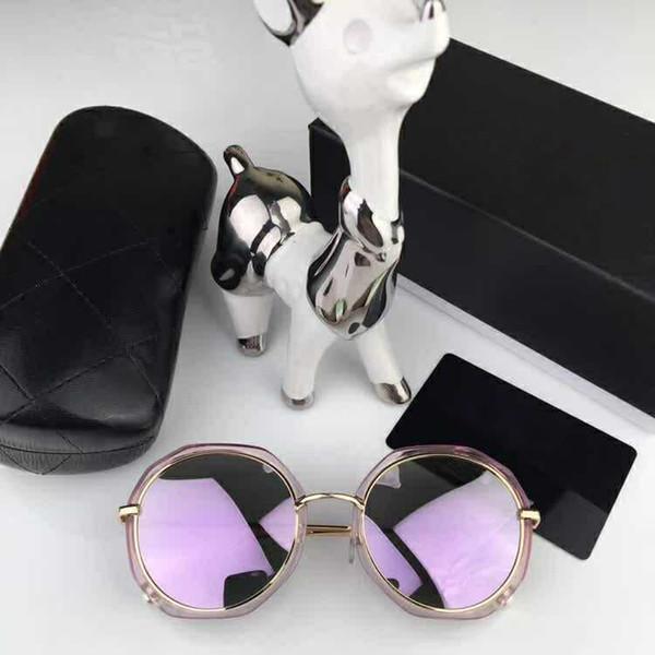 chanel CH0129 Kadınlar Lüks Tasarımcı Boy kristaller ile siyah gri güneş gözlüğü Moda Marka Güneş Gözlüğü Kutusu ile Yeni