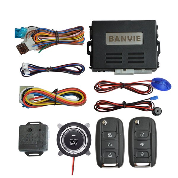 BANVIE 1 Way Car Security Alarm System with Remote Engine Start and Push to Start Stop Button