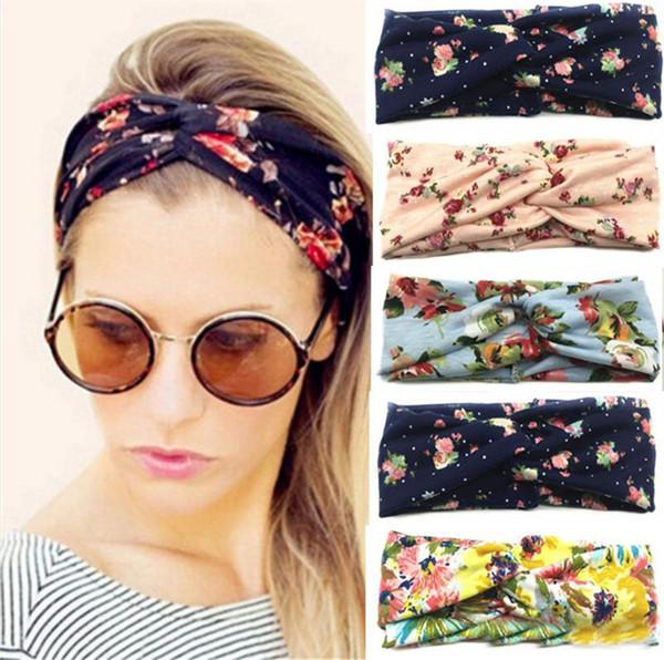 Twist-Mädchen-Frauen Turban Floral Designer Stirnband Stretch Sport Yoga Haarband für Mädchen Kopftuch Bandana Haarschmuck