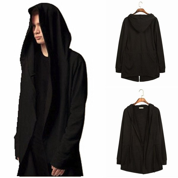 Men Hooded Hoodie Cotton Long Cardigan Cloak Hipster Hip Hop Cape Coat