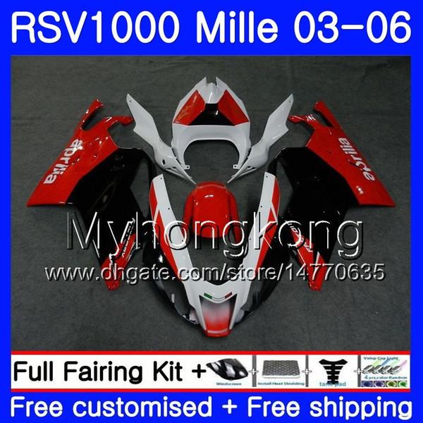 Body For Aprilia RSV 1000R 1000 red black gloss RV60 Mille RSV1000 R RR 03 04 05 06 316HM.16 RSV1000RR RSV1000R 2003 2004 2005 2006 Fairings