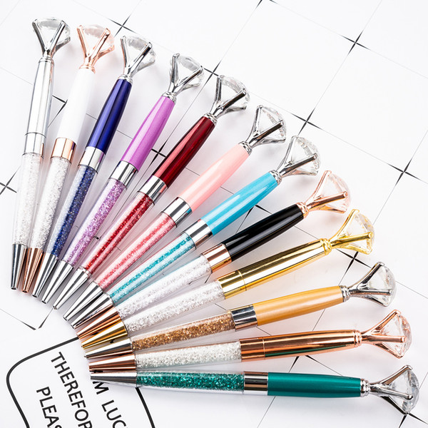 top popular Wholesale Large Diamond Metal Ballpoint Luxury Big Crystal Diamond Ballpoint Metal Pen Crystal Pen Business Gift Wedding Favor Wholesale 2020