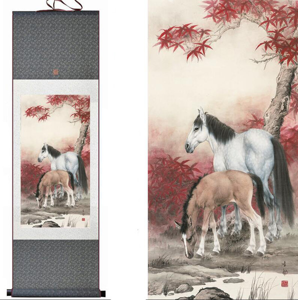 Chinese Traditional Art Painting Art Horse Horse Horse Painting, Silk Painting Art.